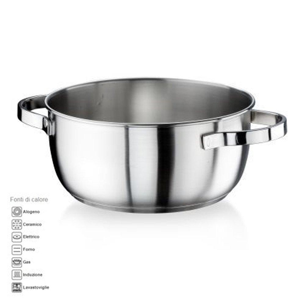 Cacerola honda diámetro 18 cm 1.75lt acero inoxidable satinado la pintinox Modelo Royal MADE in ITALY también para Cocina de inducción: Amazon.es: ...