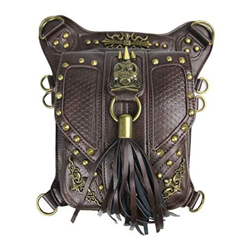 MIRUIKE Steampunk Leather Purses Handbag Gothic Brown Skeleton Rivets Waist Pack Outdoor Sports Bag Retro Leg Bag Travel Bags