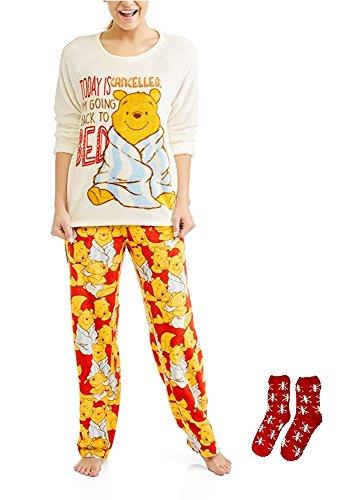 Disney Pooh Pjs (Winnie The Pooh Disney Women's Minky Soft Plush 2 Piece Pajamas w/Matching Sock Gift Set- Cozy Top, Pants and Socks (X-Large (16-18)))