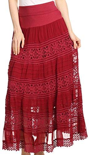 Crochet Trim Tiered Skirt - 1