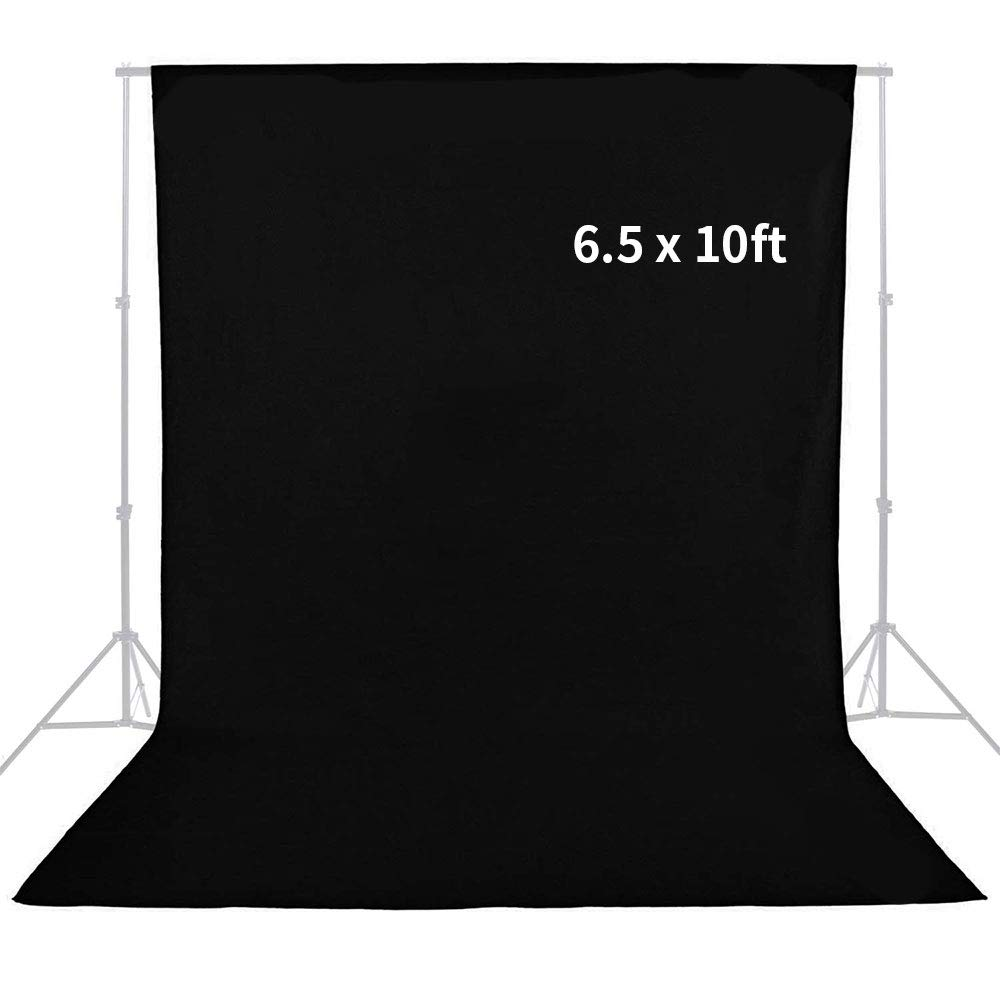 MOUNTDOG Photography Studio Muslin Backdrop Background 6.5x10 ft Black Screen for Video and Television (Stand NOT Included)