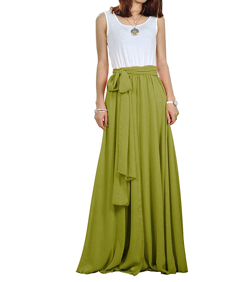 6fd21bdac CoutureBridal Women Chiffon Elastic Pleated Long Maxi Skirt Bow Customizable:  Amazon.ca: Clothing & Accessories