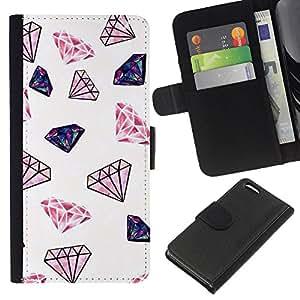 KLONGSHOP // Tirón de la caja Cartera de cuero con ranuras para tarjetas - Diamante rosa Joyas minimalistas en color blanco - Apple Iphone 5C //
