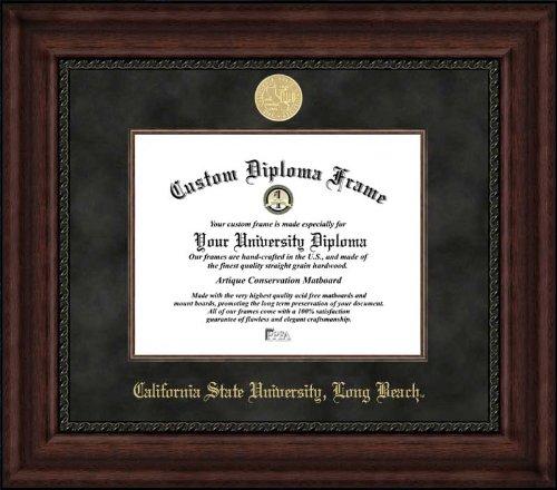 (Laminated Visuals California State University Long Beach 49ers - Gold Medallion - Suede Mat - Mahogany - Diploma)