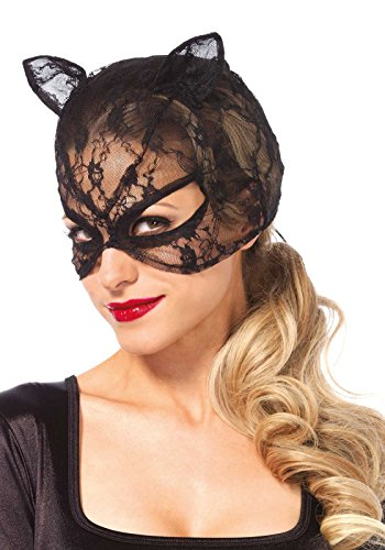Leg Avenue Women's Lace Cat Mask Costume Accessory, Black, One (Lace Cat Mask)