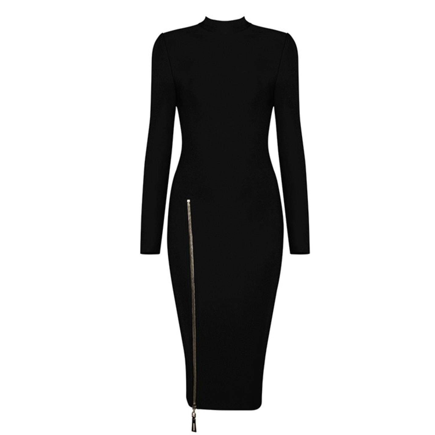 Black Women Turtleneck Long Sleeve Zipper Dress Celebrity Party Bodycon Dress