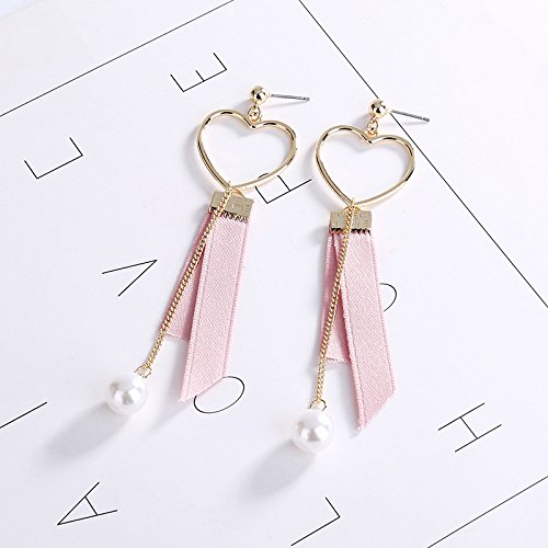 MUZHE Hollow Love Heart Black Pink Cloth Ribbon Long Chain Pearl Drop Earring (Pink) by MUZHE (Image #1)