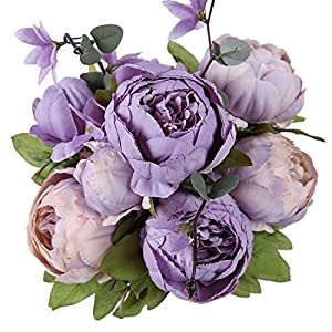 Luyue Vintage Artificial Peony Silk Flowers Bouquet Home Wedding Decoration (New Purple) 73