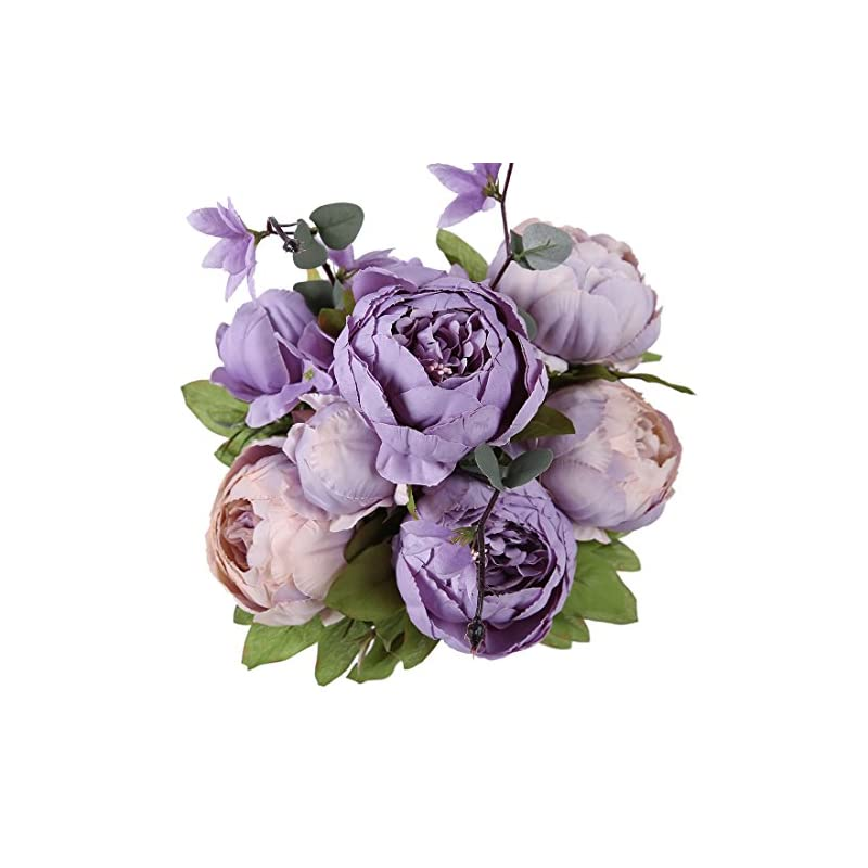 silk flower arrangements luyue vintage artificial peony silk flowers bouquet home wedding decoration (new purple)