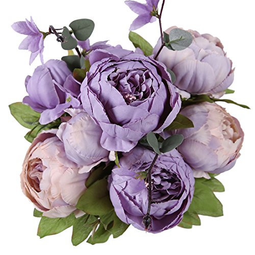 - Luyue Vintage Artificial Peony Silk Flowers Bouquet Home Wedding Decoration (New Purple)