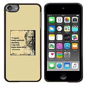 Dragon Case - FOR Apple iPod Touch 6 6th Generation - Socrates yellow marble quote deep smart - Caja protectora de pl??stico duro de la cubierta Dise?¡Ào Slim Fit