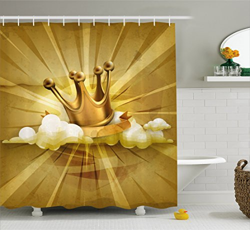 (Ambesonne King Shower Curtain, Medieval Fairytale Inspired Crown with Clouds Abstract Bold Striped Vintage Image, Fabric Bathroom Decor Set with Hooks, 70 Inches, Pale Coffee)