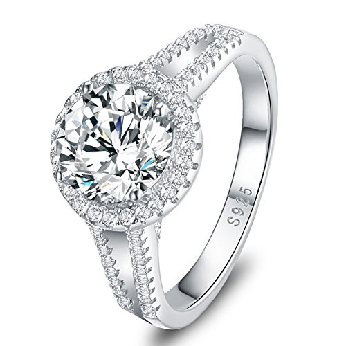 Mozume 3ct CZ Engagement Ring 925 Sterling Silver Wedding Anniversary Halo Solitaire Cubic Zirconia For Women (9)