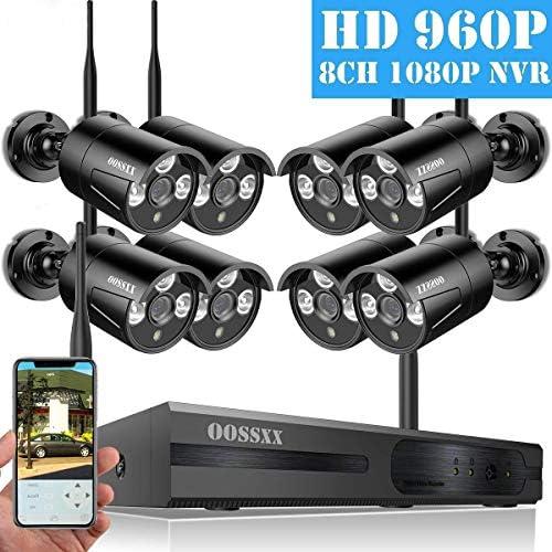 OOSSXX Sistema de c/ámaras de seguridad inal/ámbrica NVR 8CH con visi/ón nocturna IP67 720P 8 canales 4 canales Sin HDD 100 vatios c/ámaras IP para exteriores con disco duro Negro 1080P 1080P