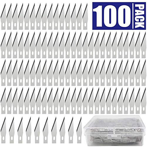 100 PCS Exacto Knife Blades, High Carbon Steel #11 Refill Exacto Art Blades Cutting Tool with Storage Case for Craft, Hobby, Scrapbooking, ()