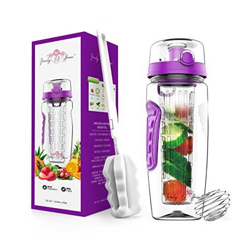 Fruit Infuser Water Bottle 32 oz: Flavored Water & Tea Infusion for Hydration, Protein Shake Sports Container, Leak-Proof Lid, Long Infuser Basket - with Sleeve, Cleaner Brush & Mix Ball