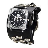 Avaner Men Punk Rock Collection Skull Analog Quartz Wide Black Leather Belt Cuff Bracelet Sport Watch
