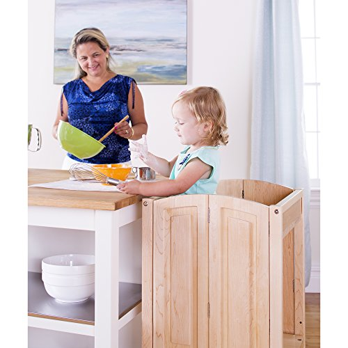 Price comparison product image Guidecraft Heartwood Kitchen Helper - Solid Maple: Adjustable Height Wooden Baking Stool For Toddlers,  Household Kids Cooking Furniture