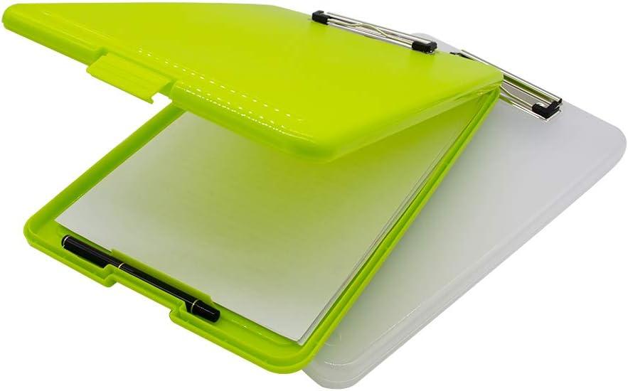 Utility Teachers Green A4 Slim Clipboard Folder Conference Plastic Folder Clipboard Paper Holder Storage Box Clip Board Ideal for Nurse Students Sales Jobsite,Industrial Office Professional
