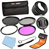 67MM Filter Kit Circular Polarizing Neutral Density Filter Kit UV Slim CPL FLD ND4+ Lens Hood + Lens Cap + Cap Keeper + Cleaning Cloth + Shockproof Filter Bag