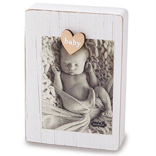 Mud Pie White Baby Magnetic Heart Picture Frame, One Size, ()
