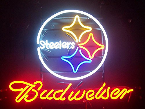 ittsburgh Sports Team Steeler Budweiserr Neon Sign (Multiple Sizes Available) Man Cave Sports Bar Pub Beer Glass Neon Lamp Light CX119 ()