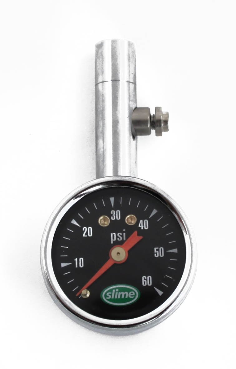Slime 20048 Dial Tire Gauge 5-60 PSI with Bleeder Valve