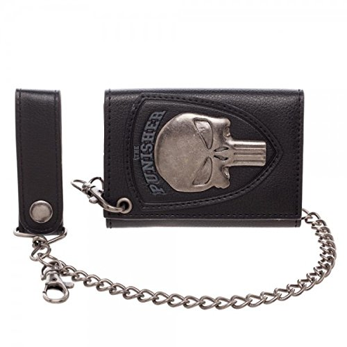 Bioworld Marvel The Punisher Skull Logo Mens Biker Chain Wallet,Black,One - Mens Chain Wallet