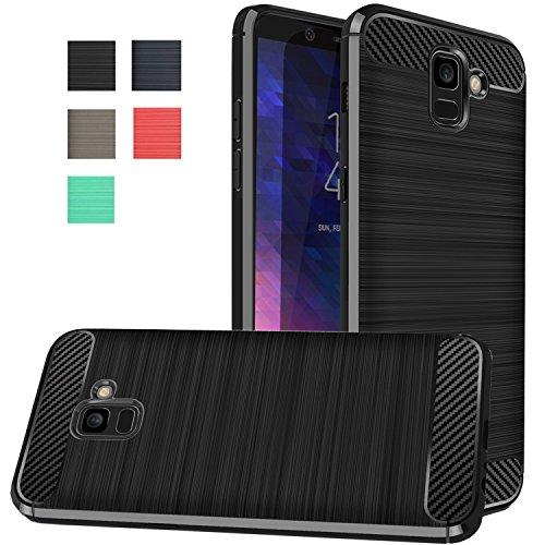 Galaxy A6 2018 Case, Dretal Carbon Fiber Shock Resistant Brushed Texture Soft TPU Phone case Anti-Fingerprint Flexible Full-Body Protective Cover for Samsung Galaxy A6 (2018) (Black)