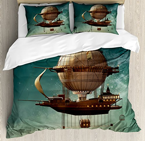 Ambesonne Fantasy Duvet Cover Set, Surreal Sky Scenery with Steampunk Airship Fairy Sci Fi Stardust Space Image, Decorative 3 Piece Bedding Set with 2 Pillow Shams, Queen Size, Teal - Bedding Fairies Collection