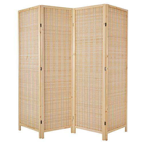 Cocosica Bamboo Room Divider, Folding Privacy Screen with Double Hinge & 4 Panel Room Screen Divider Separator for Decorating Bedding, Dining, Study and Sitting Room-Nature Bamboo