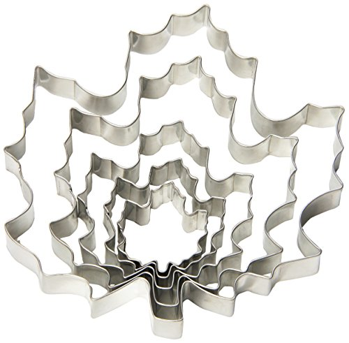 Fox Run 36092 Maple Leaf Cookie Cutter Set, Stainless Steel, 5-Piece
