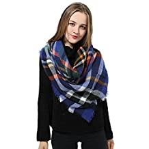 Plaid Blanket Scarf Women Big Square Scarf for Winter Warm Tartan Checked Shawl