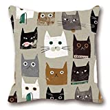 Customize Funny Throw Pillow Cover Sham Cotton Square Unique Printed Lovely Cat Pattern Cushion Pillowcase 18 x 18 inches Christmas,Wedding,Anniversary Romantic Gifts