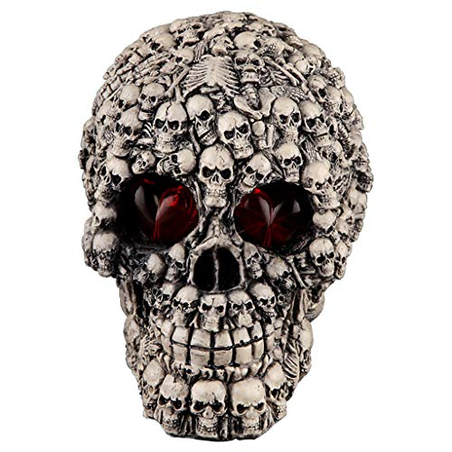 Halloween Chic Nails (Fan-Ling Halloween Skull Model,Halloween Decorations Resin Wacky Funny Novelty Skull Toys,Fake Skull Party Prop,Halloween Decoration Toy Funny Spoof Light LED Eye Ghost Scary Terror Skull Prop)