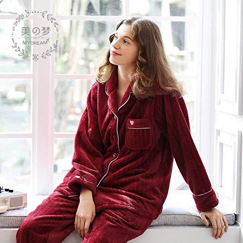 Rojo Boda De Polar Traje E pijamas Festivo Mujer Invierno Mujeres Servicio Y Casados Cn Domicilio Coral A Otoño Franela Hombres Recién wF1B8z8q