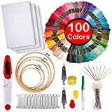 Full Range of Embroidery Starter Kit,5 Pieces Bamboo Embroidery Hoops,100 Color Embroidery Threads,Cross Stitch Tool Kit