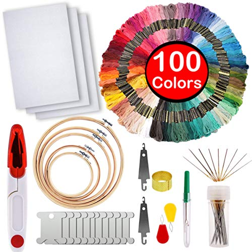 Full Range of Embroidery Starter Kit,5 Pieces Bamboo Embroidery Hoops,100 Color Embroidery Threads,Cross Stitch Tool Kit ()