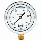 "Winters PFQ Series Stainless Steel 304 Single Scale Liquid Filled Pressure Gauge with Brass Internals, 0-100 psi, 2-1/2"" Dial Display, -1.5% Accuracy, 1/4"" NPT Bottom Mount"