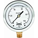 """Winters PFQ Series Stainless Steel 304 Single Scale Liquid Filled Pressure Gauge with Brass Internals, 0-100 psi, 2-1/2"""" Dial Display, +/-1.5% Accuracy, 1/4"""" NPT Bottom Mount"""