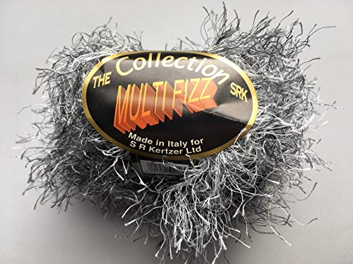on Multi Fizz #910 Storm - Black White Gray Long Eyelash Yarn 50 Gram 66 Yards ()
