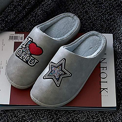 Faux Intérieur Épais Paquet Cuir Gray Accueil Semi Femmes PU Coton Imperméable Hiver Chaussures Antidérapant Fond Tongues Chaussons SFHK qOAUXU