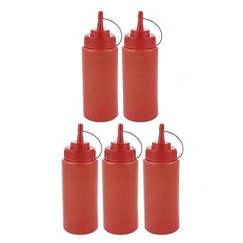 sourcingmap® 5pcs 400ml Apretón botellas de plástico de cocina Ketchup salsa de mostaza sal