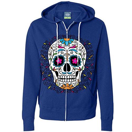Dia De Los Muertos Pastel Sugar Skull Zip-Up Hoodie - Cobalt Large (Dia De Los Muertos Makeup For Men)