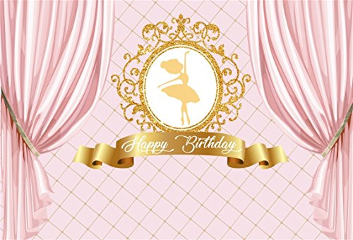 CSFOTO 7x5ft Background for Happy Birthday Princess Pink Curtain Photography Backdrop Girl Golden Elegant Ballet Dancer Celebrate Party Decoration Child Kid Baby Studio Props Polyester Wallpaper