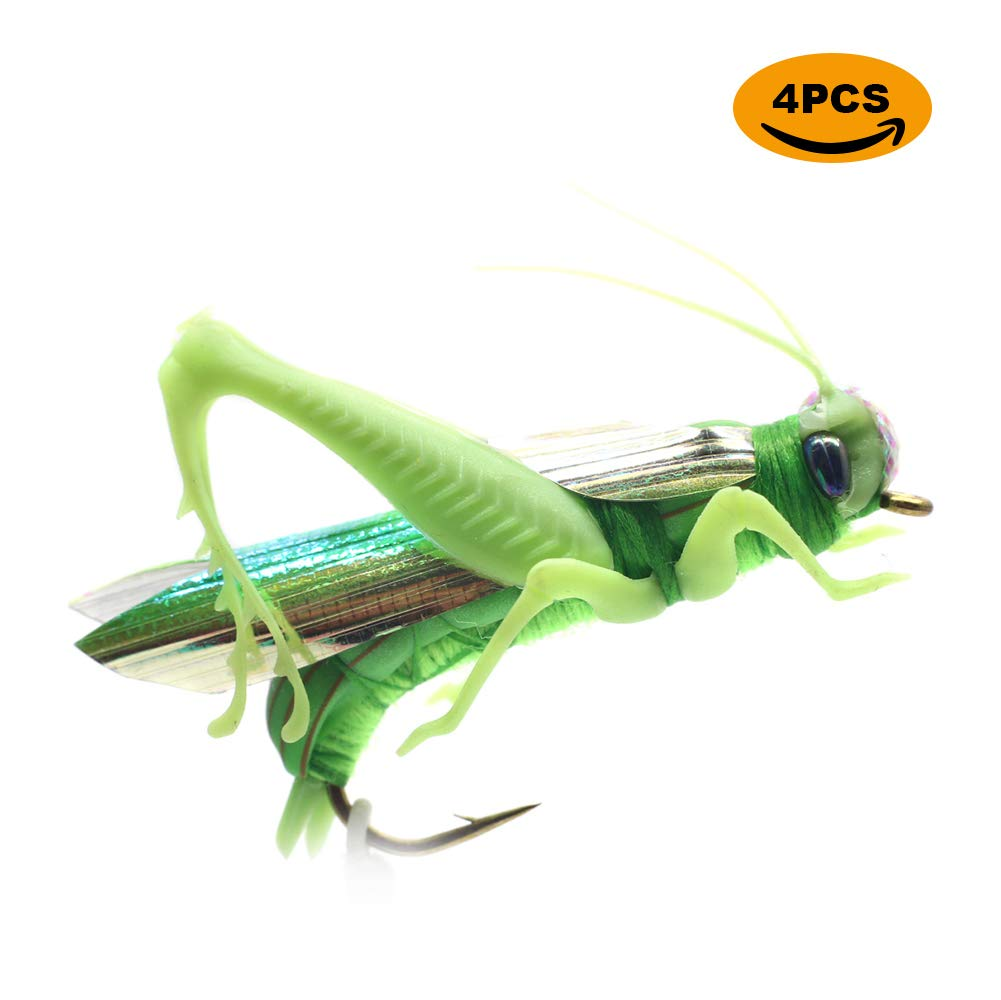 YZD Realistic Grasshopper Dry Fishing Flies Set of 4 Flies Cricket Hopper Fly Fishing Lure Trout Pike Carp Flyfishing (Medium A4 Green)