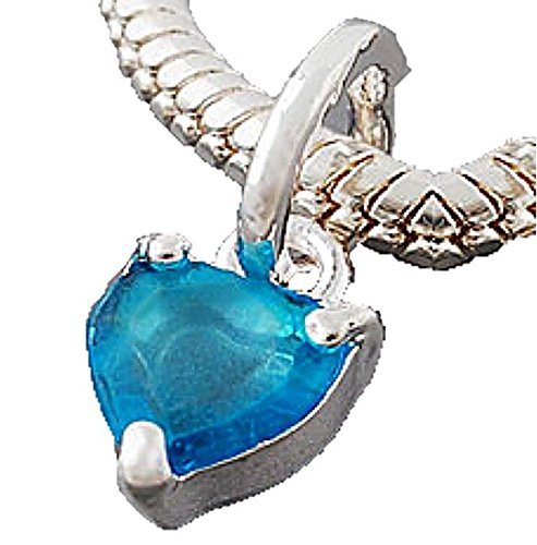 Charm Buddy Blue Faceted Crystal Heart Dangle Charm Fits Silver Pandora Style Bracelets