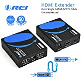 OREI HDMI Extender Over Single CAT6A/CAT7 Cable Uncompressed 1080p @ 60Hz With IR EDID Management - Up to 196 Ft