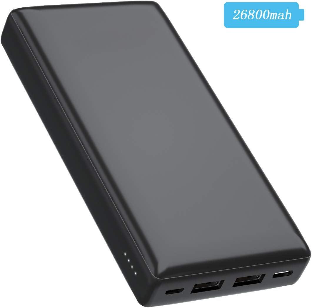 RLY Cargador portátil de 26800 mAh, 2 Salidas USB y batería Externa de Doble Entrada de Alta Capacidad para iPhone, iPad, Nexus, Samsung, Huawei Galaxy y más (Negro): Amazon.es: Electrónica