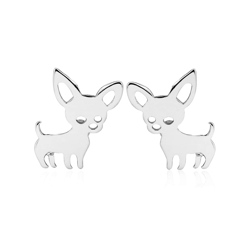 Lovely Tiny Pet Dog Cat Stud Earrings For Women Girls Stainless Steel Cute Hedgehog Rabbit Animal Earrings Aretes Brinco,97,Gold Color
